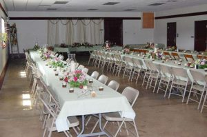 Social Hall decorated for a wedding.